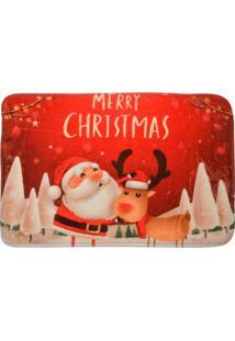 "Tapete Para Banheiro ""Merry Christmas""- Vermelho & Bege Mabruk"