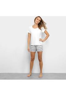 Pijama Lupo Camiseta Manga Curta + Shorts Listrado Feminino - Feminino