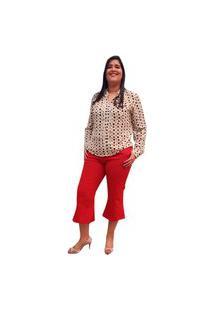 Blusa Crepe Linda D+ Manga Longa (5010Caramelo)