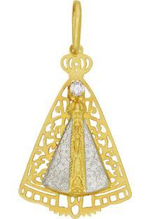 Pingente Prata Mil N.Sra Aparecida Vazada E 1 Pedra Dourado - Kanui