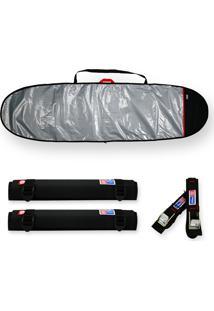 Capa Prancha Surf Funboard Refletiva E Acolchoada 7'0 A 7.4 Com Fita Rack 5M E Tubo Espuma 40Cm - Maori Extreme