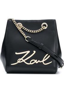 Karl Lagerfeld Bolsa Tiracolo 'K/Signature' De Couro - Preto