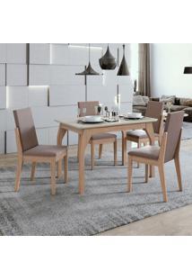 Conjunto De Mesa De Jantar Saara Com 4 Cadeiras Lira Velvet Off White E Rosê