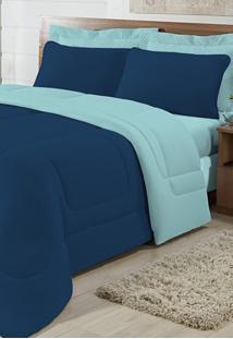 Edredom Solteiro Casa Modelo Dupla Face Malha 100% Algodão 1 Peça - Marinho/Azul Light