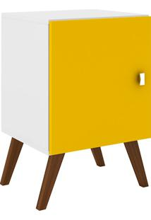 Mesa Lateral Retrô Rt3012 - Movelbento - Branco / Amarelo