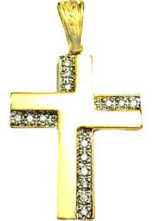 Pingente Prata Mil Cruz Folheado Em Ouro Dourado