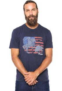 Camiseta Wrangler Estampada Azul