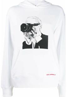Karl Lagerfeld Moletom Karl Legend Com Capuz - Branco