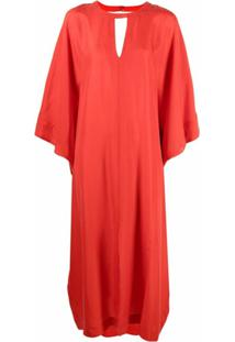 Twinset Vestido Longo De Seda - Vermelho