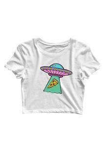 Blusa Blusinha Feminina Cropped Tshirt Camiseta Alien Pizza Branco