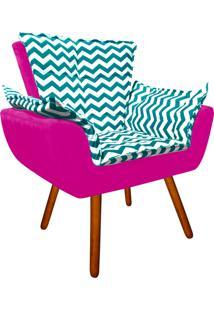 Poltrona Decorativa Opala Suede Composê Estampado Zig Zag Verde Tiffany D78 E Suede Pink - D'Rossi