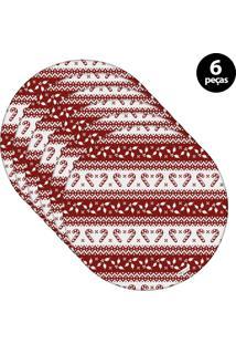 Capa Para Sousplat Mdecore Natal Bengala Vermelho 6Pçs