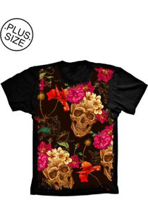 Camiseta Lu Geek Plus Size Skull Caveira Preto