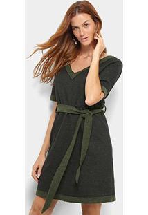 Vestido Mob Evasê Curto Moletom Amarração - Feminino-Verde