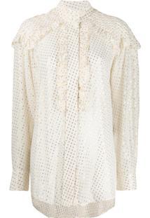 Victoria Beckham Blusa Com Babados - Branco