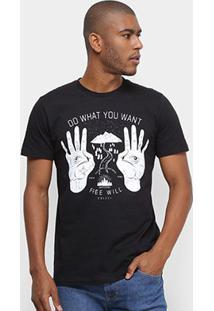 Camiseta Colcci Do What You Want Free Will Masculina - Masculino-Preto