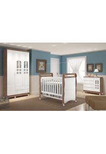 Dormitório Selena 03 Amadeirado Rústico Carolina Baby Marrom/Branco