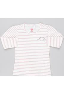 Blusa Infantil Estampada Listrada Manga Longa Decote Redondo Off White