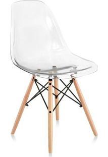 Cadeira Charles Eames Wood Base Madeira - Design - Pc Policarbonato - Inovartte - Transparente