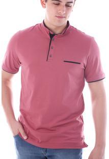 Camisa Polo Cp0718 Rosa Velho Traymon Modelagem Slim