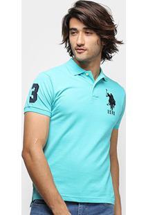 Camisa Polo U.S. Polo Assn Piquet Bordado Masculina - Masculino-Azul Claro