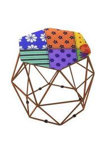 Puff Aramado Bronze Assento Hexagonal Suede Patchwork - Ds Móveis