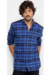 Camisa Xadrez Coca-Cola Recorte Costas Masculina - Masculino-Azul