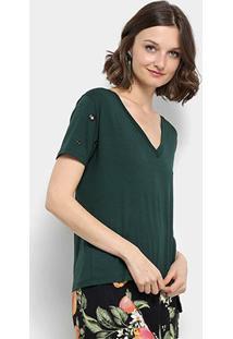 Camiseta Aura Ilhós Gola V Feminina - Feminino-Verde Escuro