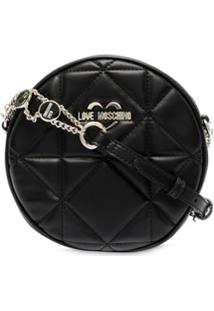 Love Moschino Quilted Round Cross-Body Bag - Preto