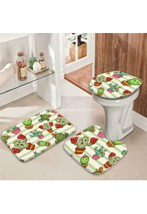 Jogo Tapetes Para Banheiro Cactos