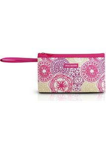 Necessaire Com Alça Jacki Design De Poliéster - Feminino-Pink+Branco