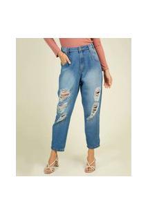 Calça Mom Jeans Destroyed Feminina Sawary