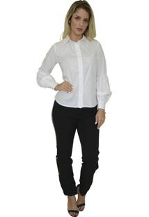 Camisa Mamorena Tricoline Manga Bufante Branca
