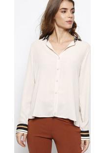 Camisa Com Botãµes- Off White & Marrom Claro- Milioremiliore