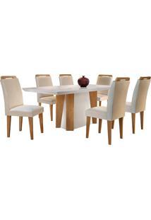 Conjunto De Mesa Para Sala De Jantar Retangular Com 6 Cadeiras Helena/Athenas-Rufato - Veludo Creme / Off White / Imbuia