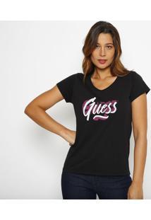 "Blusa ""Guessâ®"" Com Paint Splatter - Preta E Roxa - Gguess"