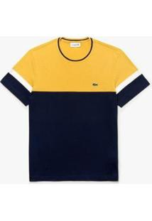 Camiseta Lacoste Masculina - Masculino-Azul Petróleo+Amarelo