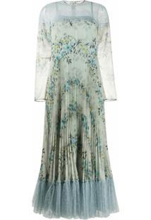 Redvalentino Vestido Com Estampa Floral E Acabamento Em Renda - Azul