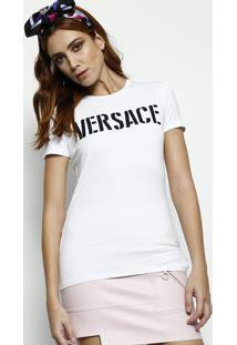 Camiseta Versace® Bordada - Branca & Pretaversace
