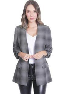 Blazer Alfaiataria Miss Joy Xadrez Feminino - Unissex-Preto