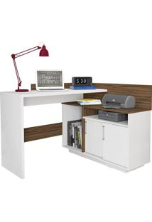 Escrivaninha Mega Office Branco Ac/Amêndoa Lin Rlv Olivar