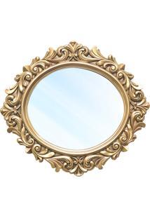 Espelho Veneza Entalhado Resina Dourada Design De Luxo