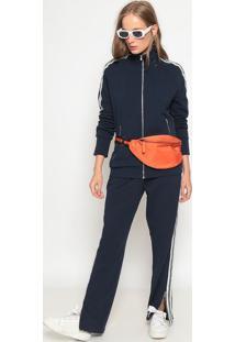 Jaqueta Em Moletinho Com Recortes- Azul Escuro & Brancalacoste