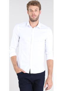 Camisa Masculina Super Slim Manga Longa Branco