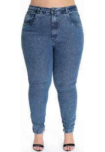 Calça Plus Size Jeans Médio Skinny