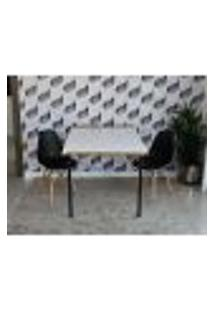 Conjunto De Mesa Dobrável Retrátil 1,40 Branco/Noronha + 2 Cadeiras Eiffel - Preta