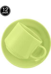 Conjunto 12 Pçs Xícaras De Chá Verde Verde Biona