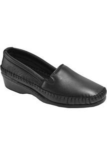 Sapato 3Ls3 De Pelica Salto Anabela Preto - Feminino-Preto