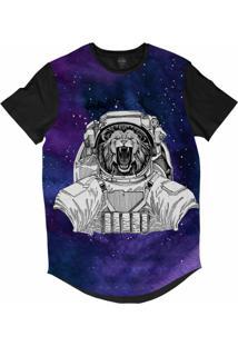 Camiseta Longline Insane 10 Animal Astronauta Leão Bravo No Espaço Sublimada Cinza