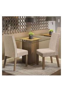 Conjunto Sala De Jantar Madesa Lisi Mesa Tampo De Vidro Com 2 Cadeiras Rustic/Imperial Rustic/Imperial